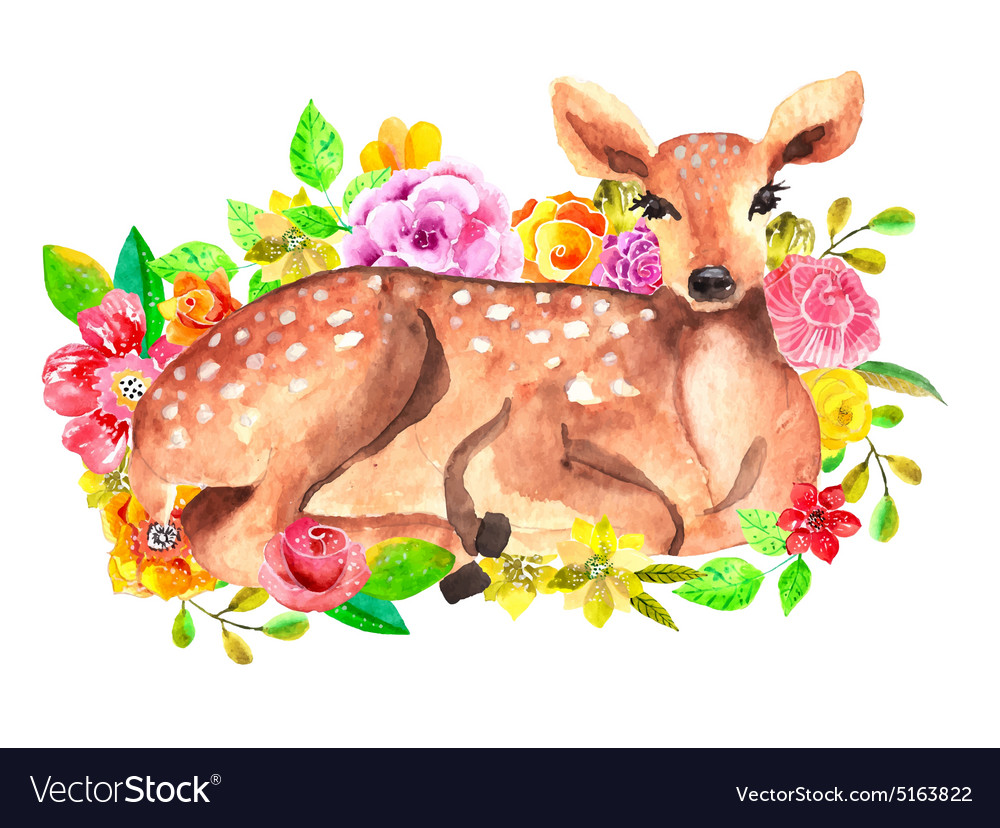 Watercolor deer with flowers vector
