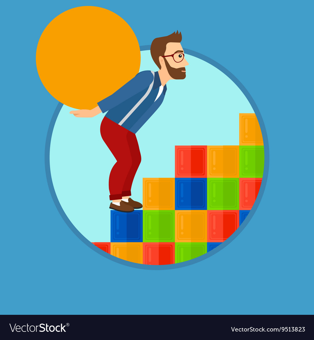 Man carrying concrete ball uphill vector