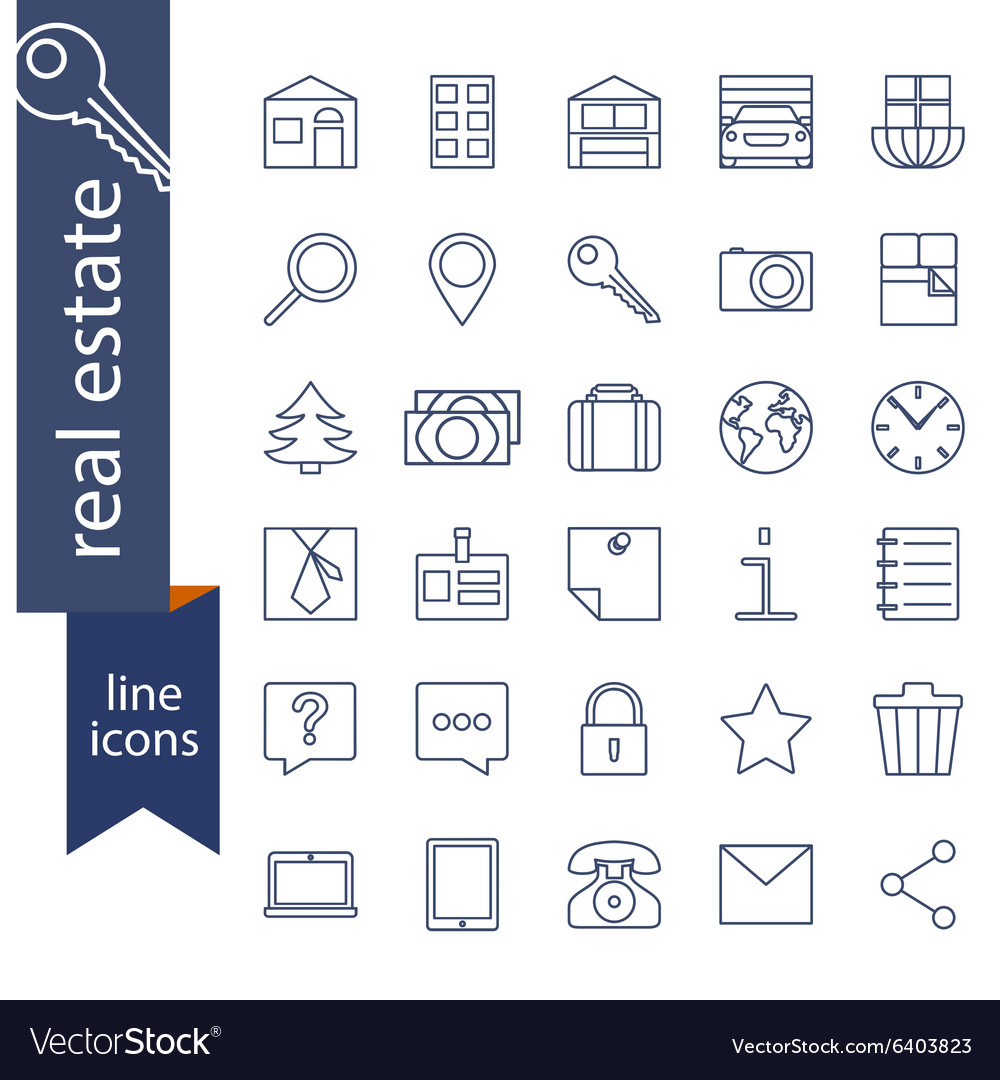 Set of outline icons for real estate sale vector