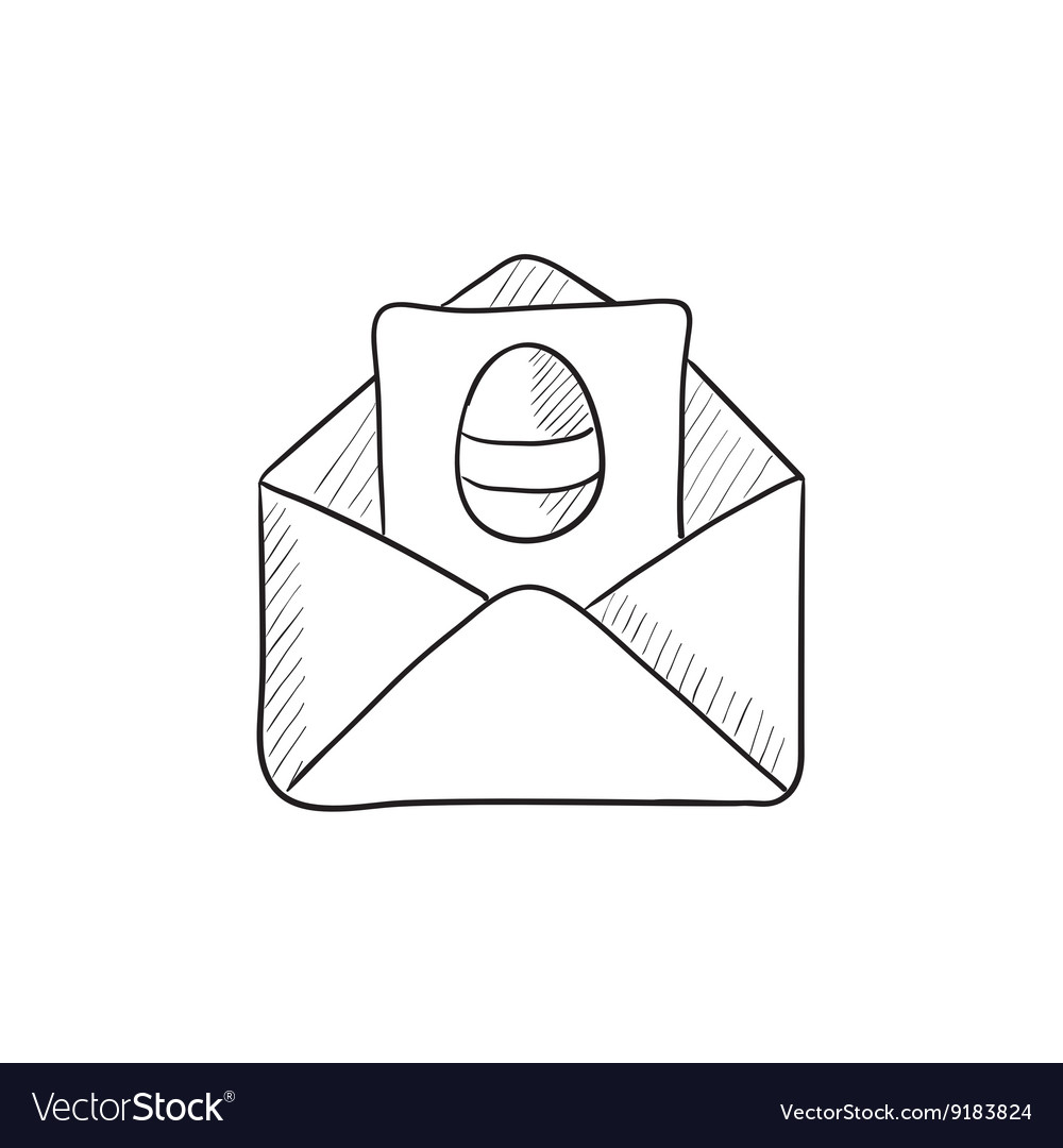 Easter greeting card in envelope sketch icon vector