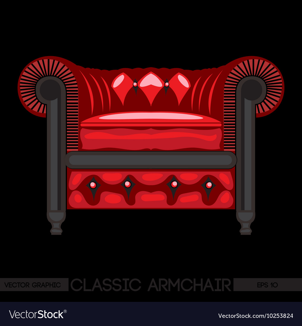 Red classic armchair over black background digital vector