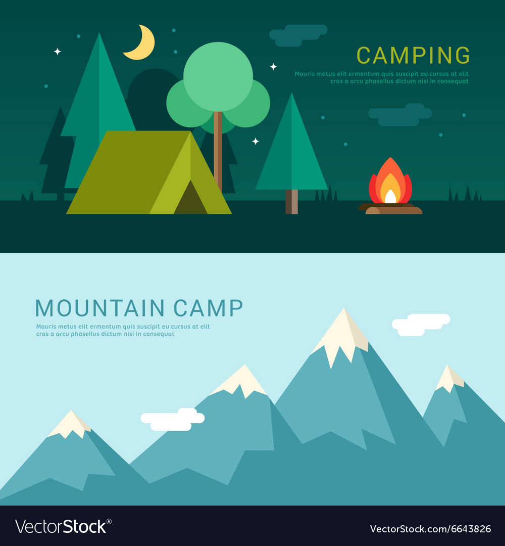Camping and mountain camp in flat design style for vector