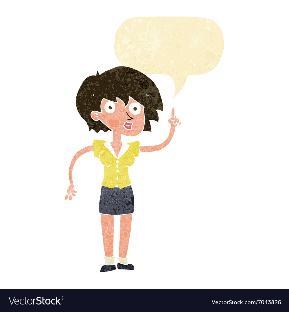 Cartoon woman with question with speech bubble vector