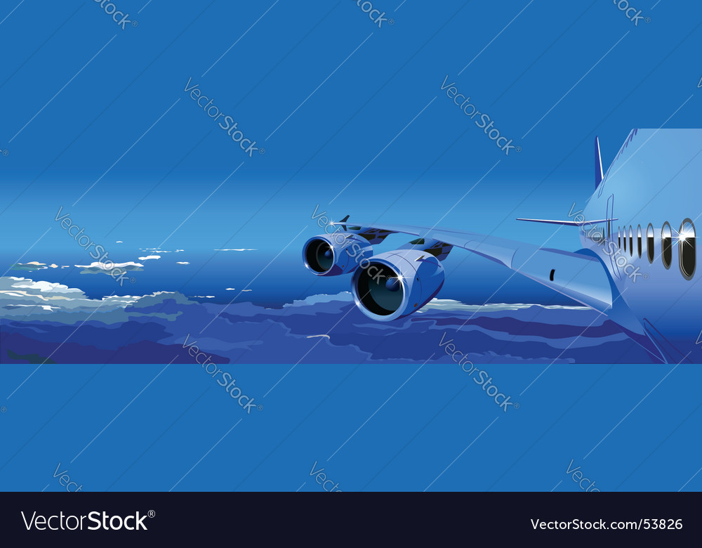 Jet cruising in the sky vector
