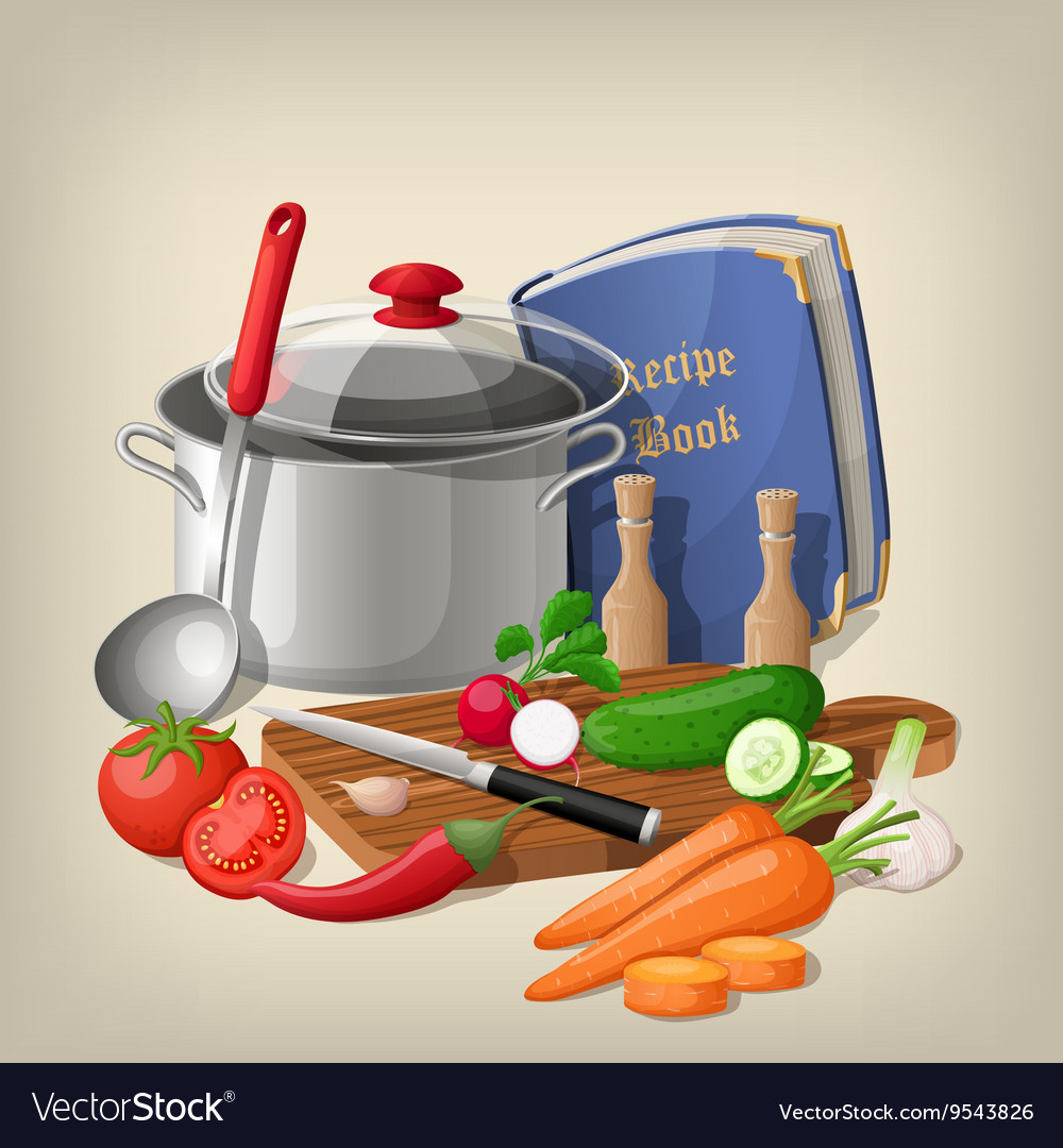 Kitchen utensils and vegetables kitchen vector
