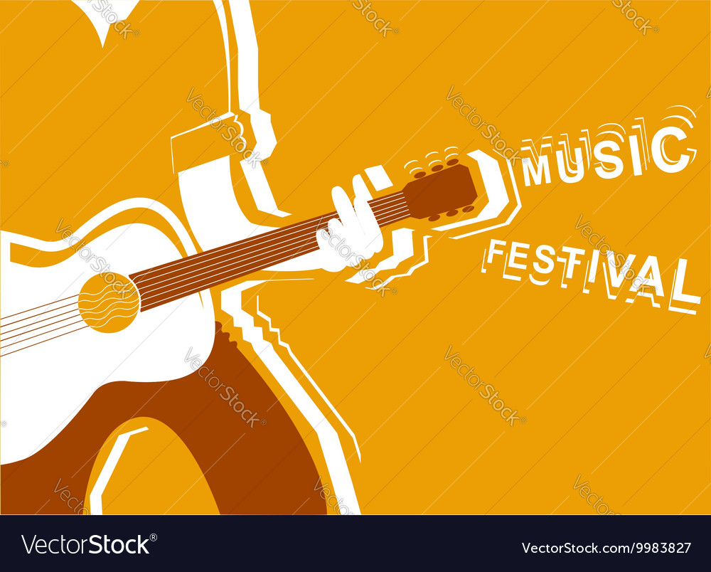 Music festival poster with man musician and guitar vector