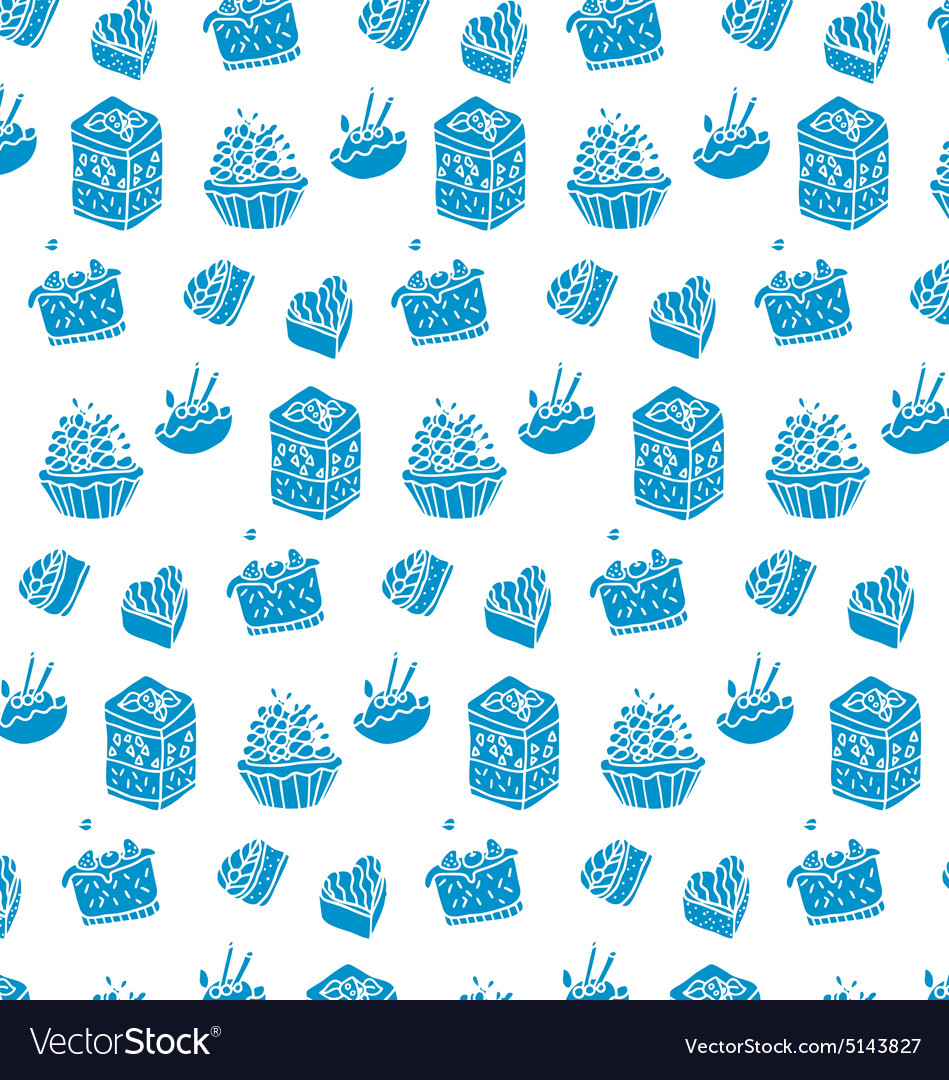 Pattern of blue cakes vector
