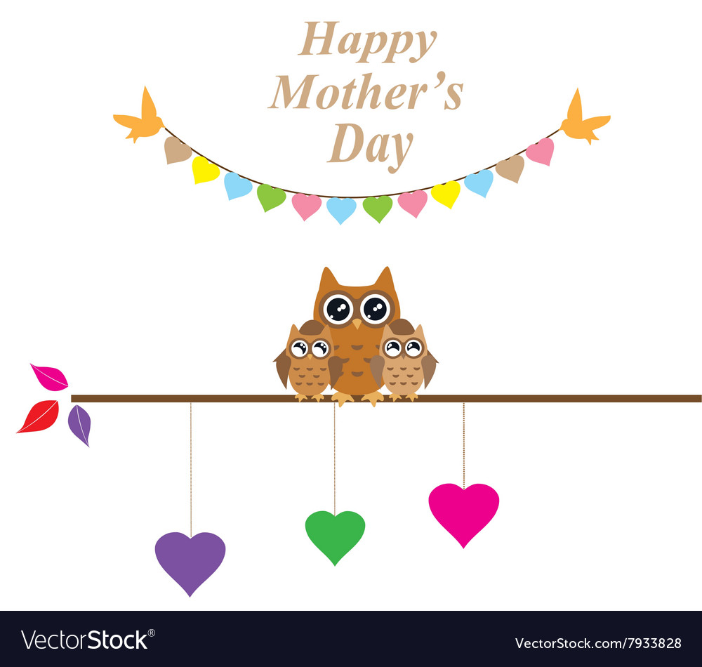 Owl mom vector