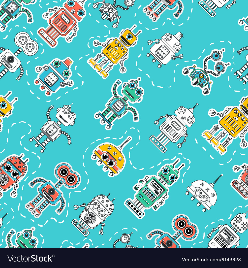 Vintage tin toy robot seamless pattern vector