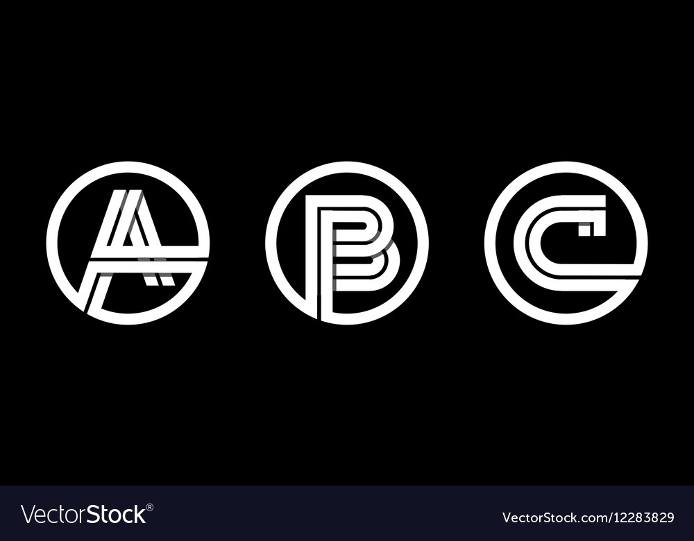 Capital letters a b c from double white stripe vector