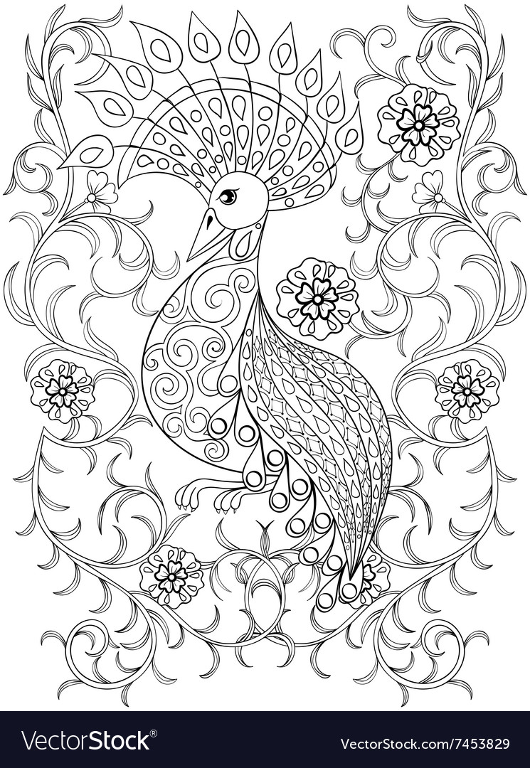 Coloring page with bird in flowers zentangle vector