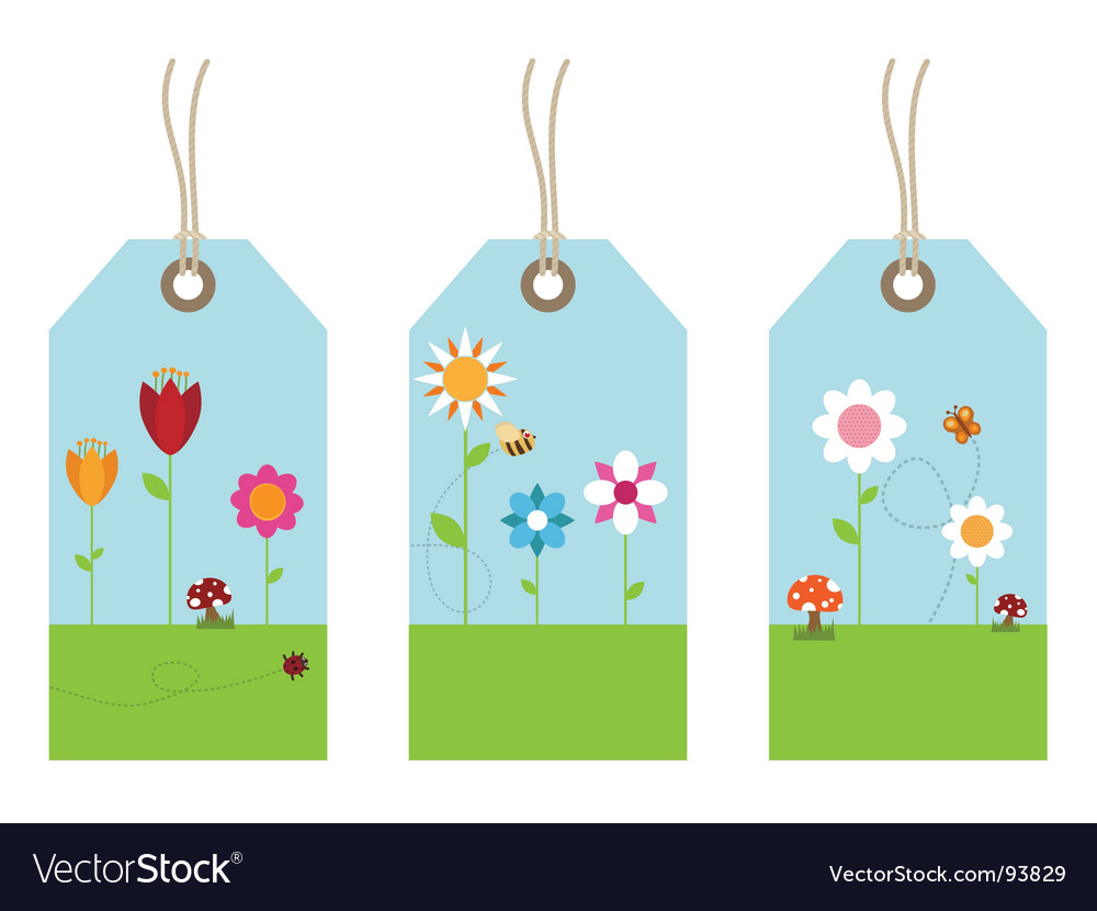 Flower tags vector