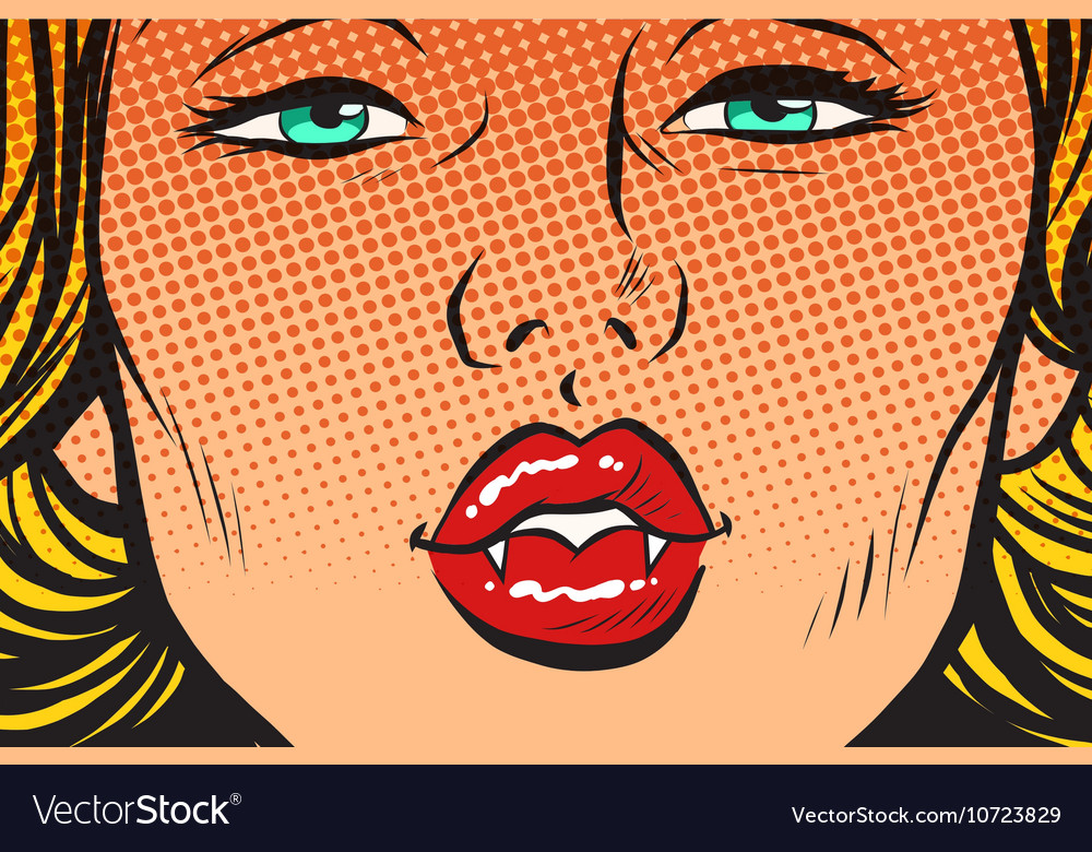 Vampire girl lip kiss vector
