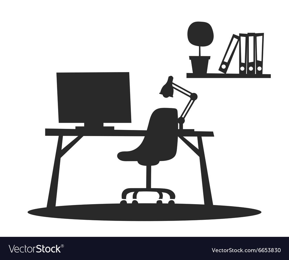 Business office interior with table chair vector