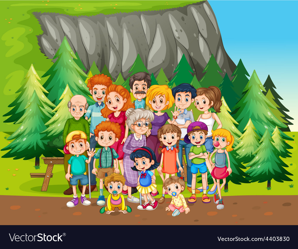 Family and park vector