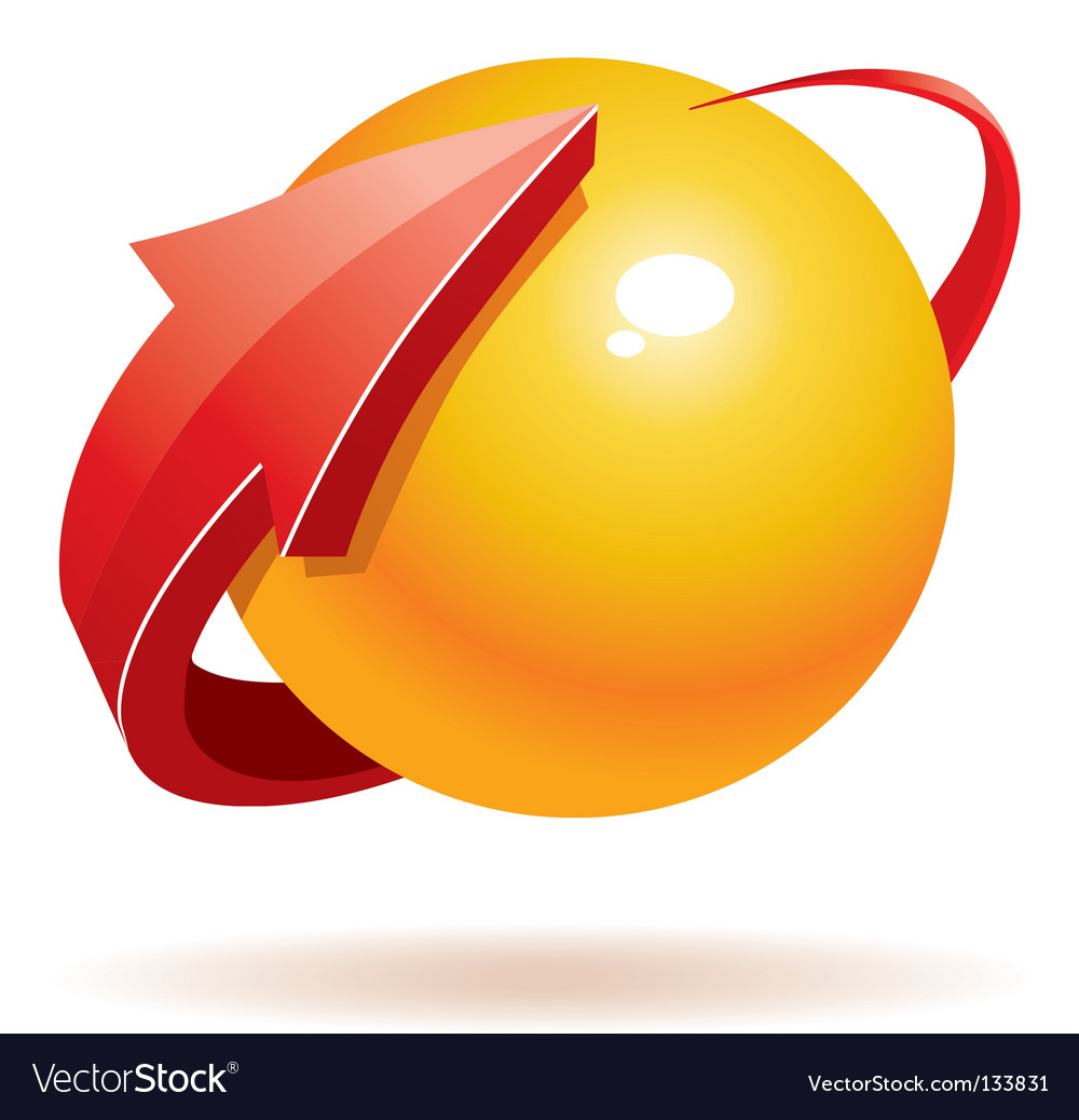 3d sphere and arrow vector
