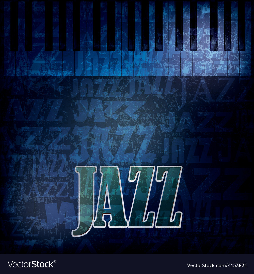 Abstract grunge jazz background with piano on blue vector