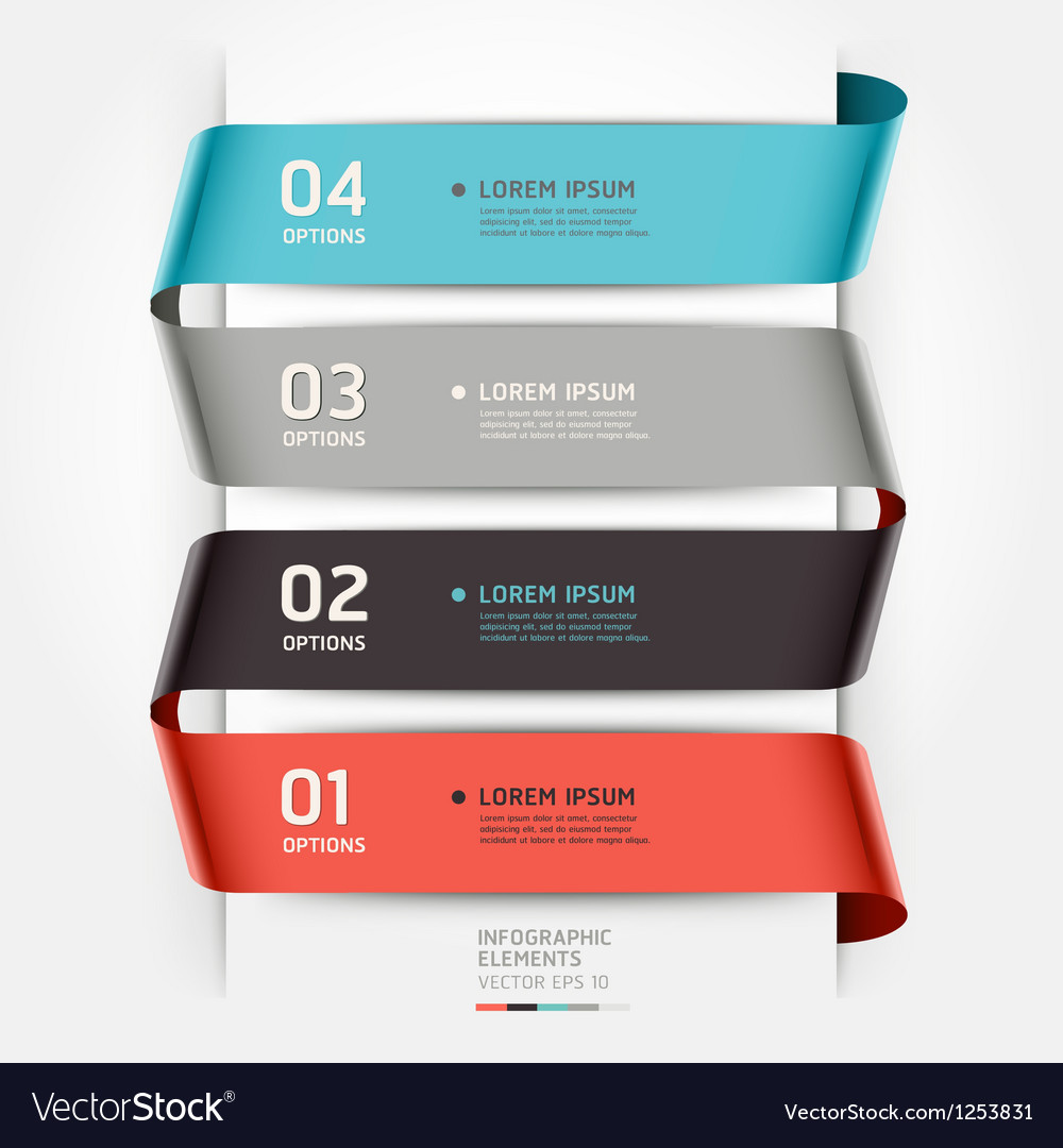 Abstract infographics template ribbon style vector