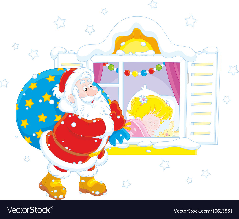 Santa with christmas gifts vector