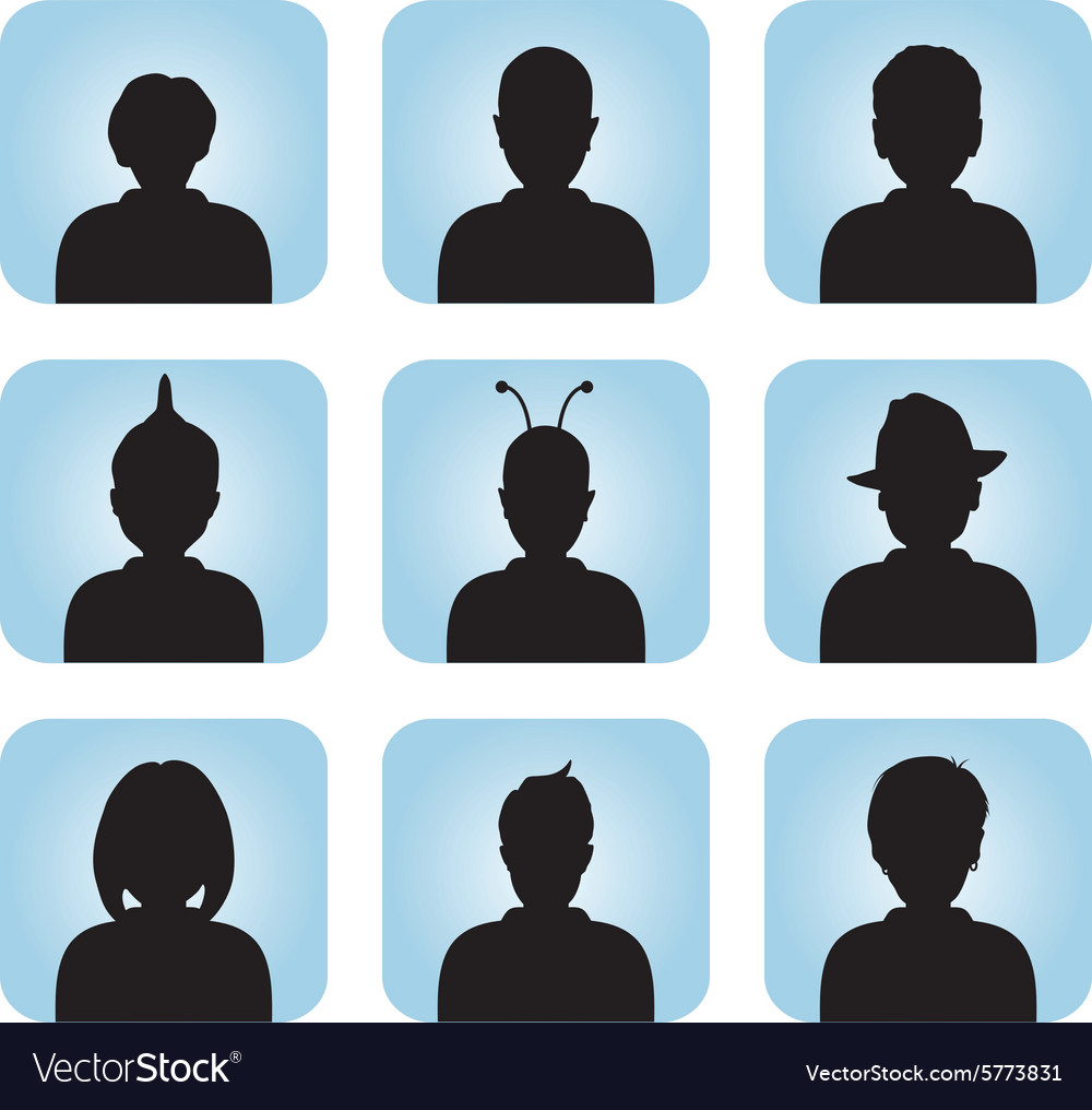 Silhouette of male female as avatar vector