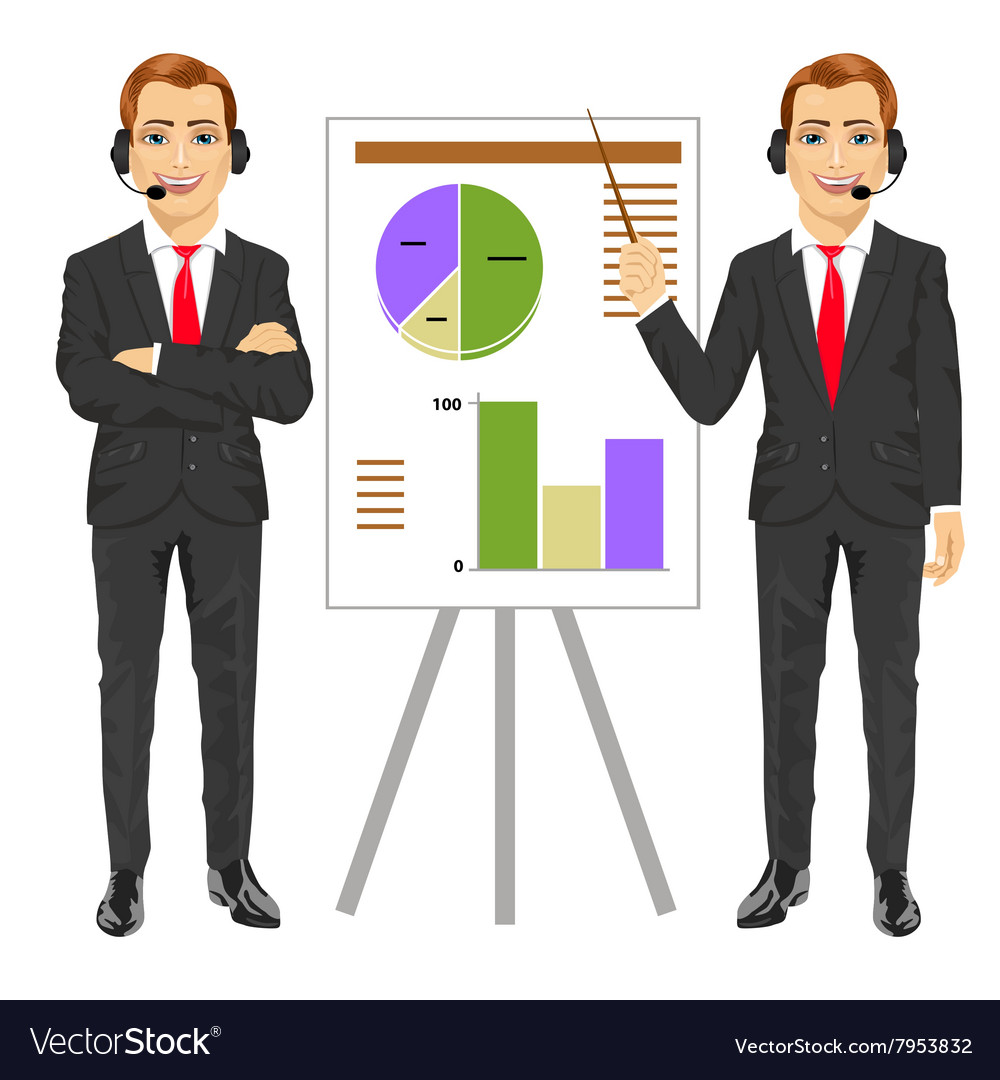 Businessman standing near flip board vector