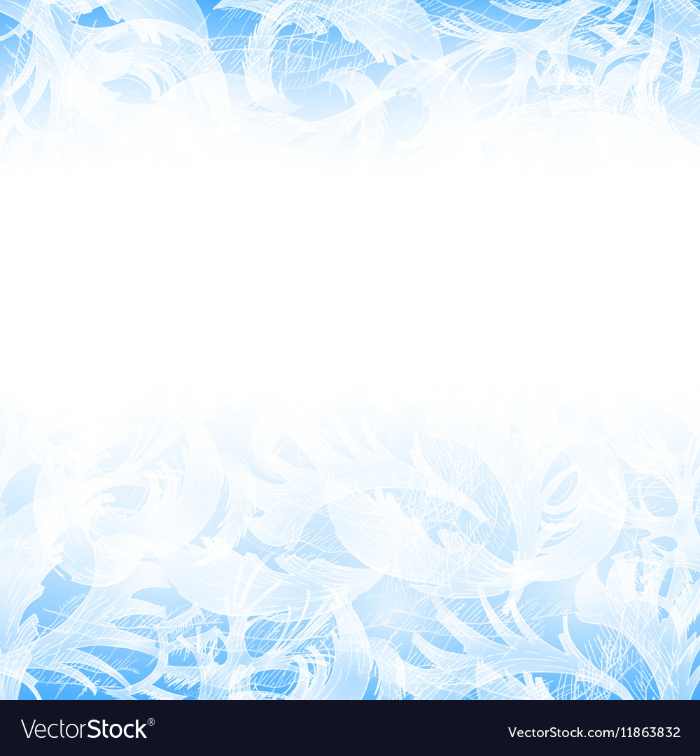 Frost glass pattern winter blue background vector