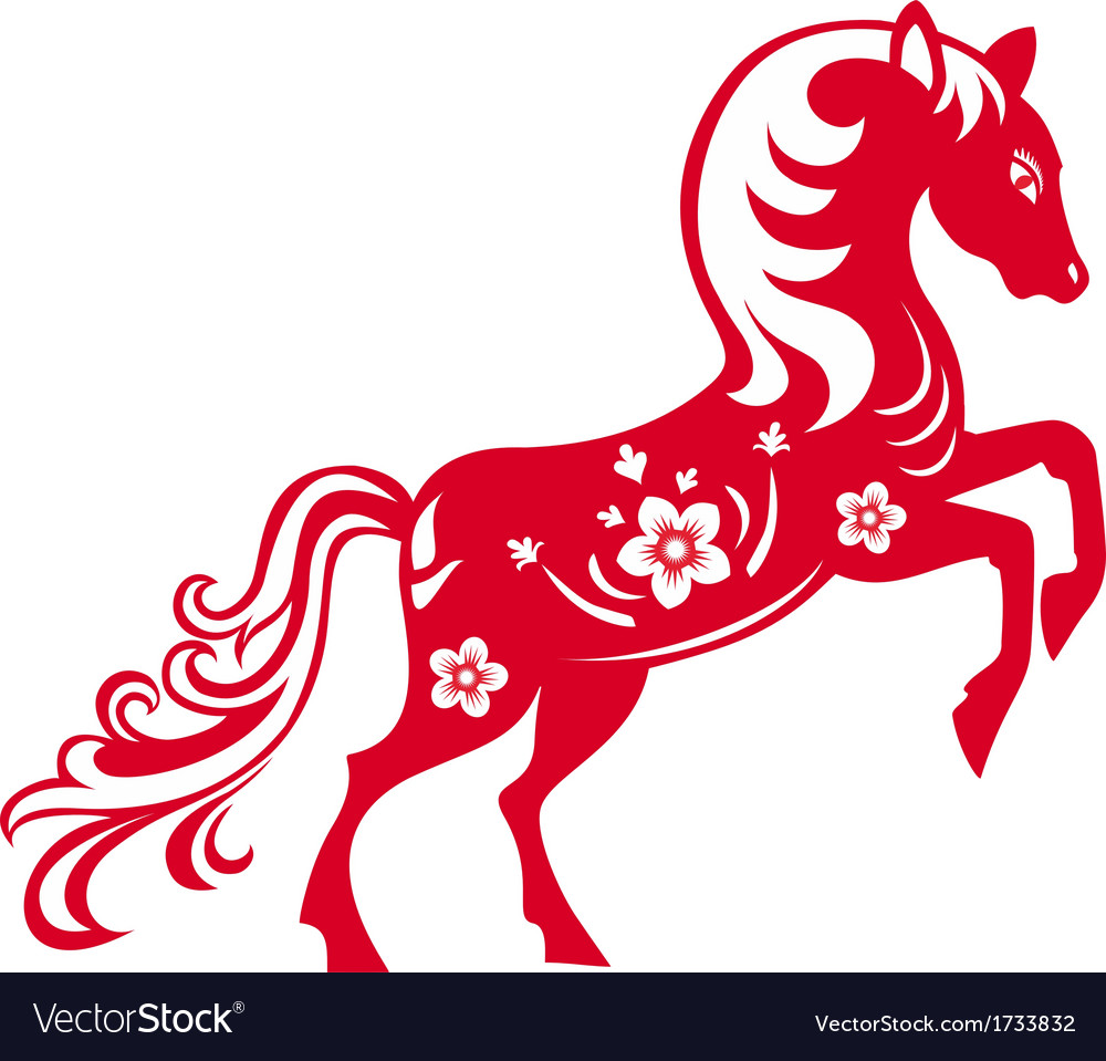 Horse chinese red vector