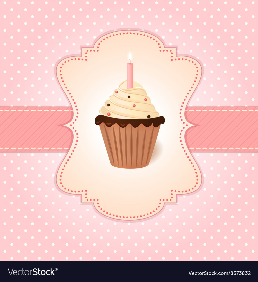 Vintage pink greetings card cream cake with candle vector