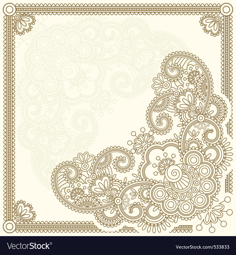 Handdrawn henna mehndi abstract flowers ill vector