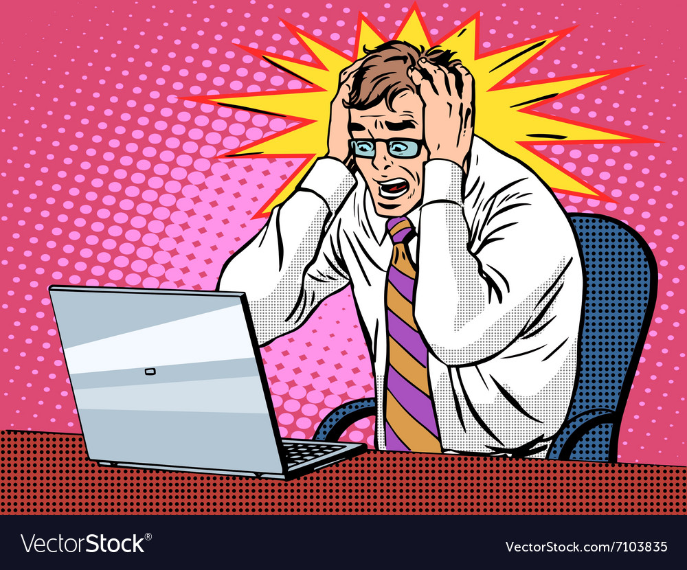 Businessman working on laptop bad news panic vector