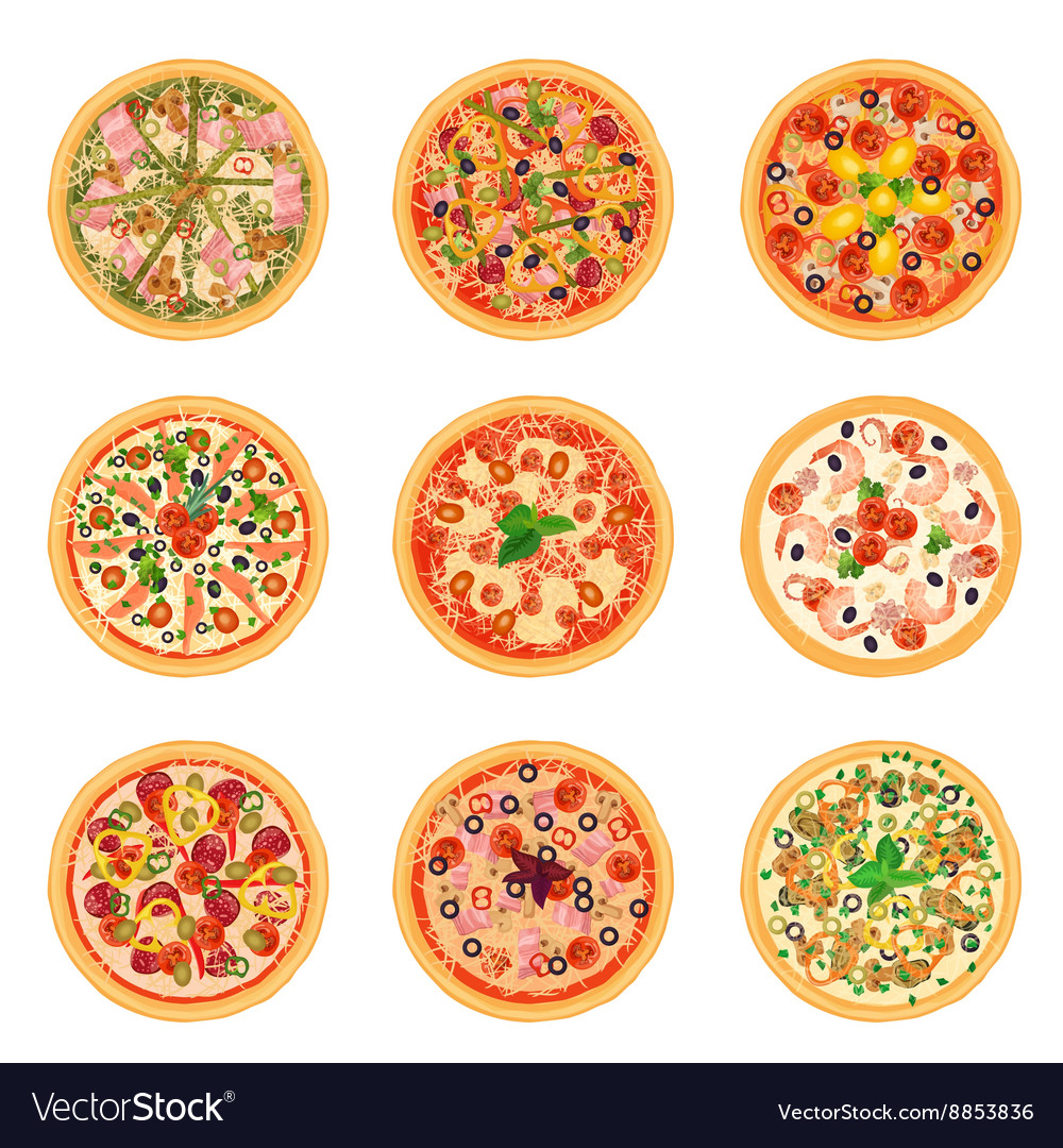 Different pizza food icons set collection isolated vector