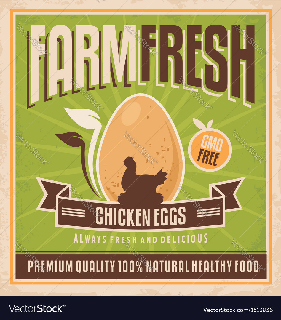 Farm fresh chicken eggs vector