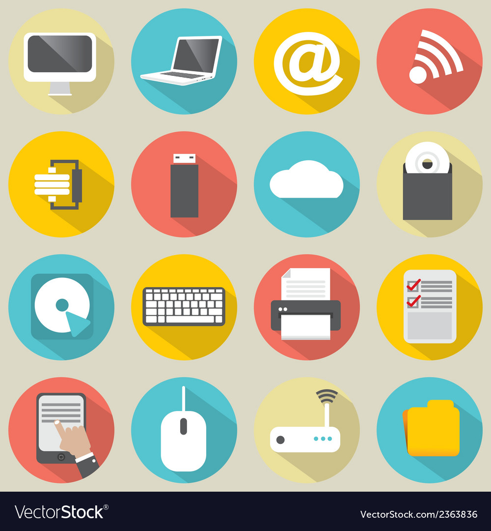 Flat design computer icons vector