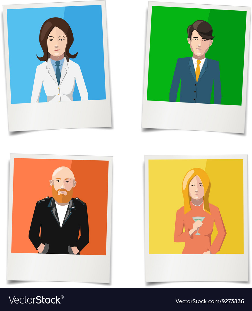 Four polaroid instant photos with flat portraits vector