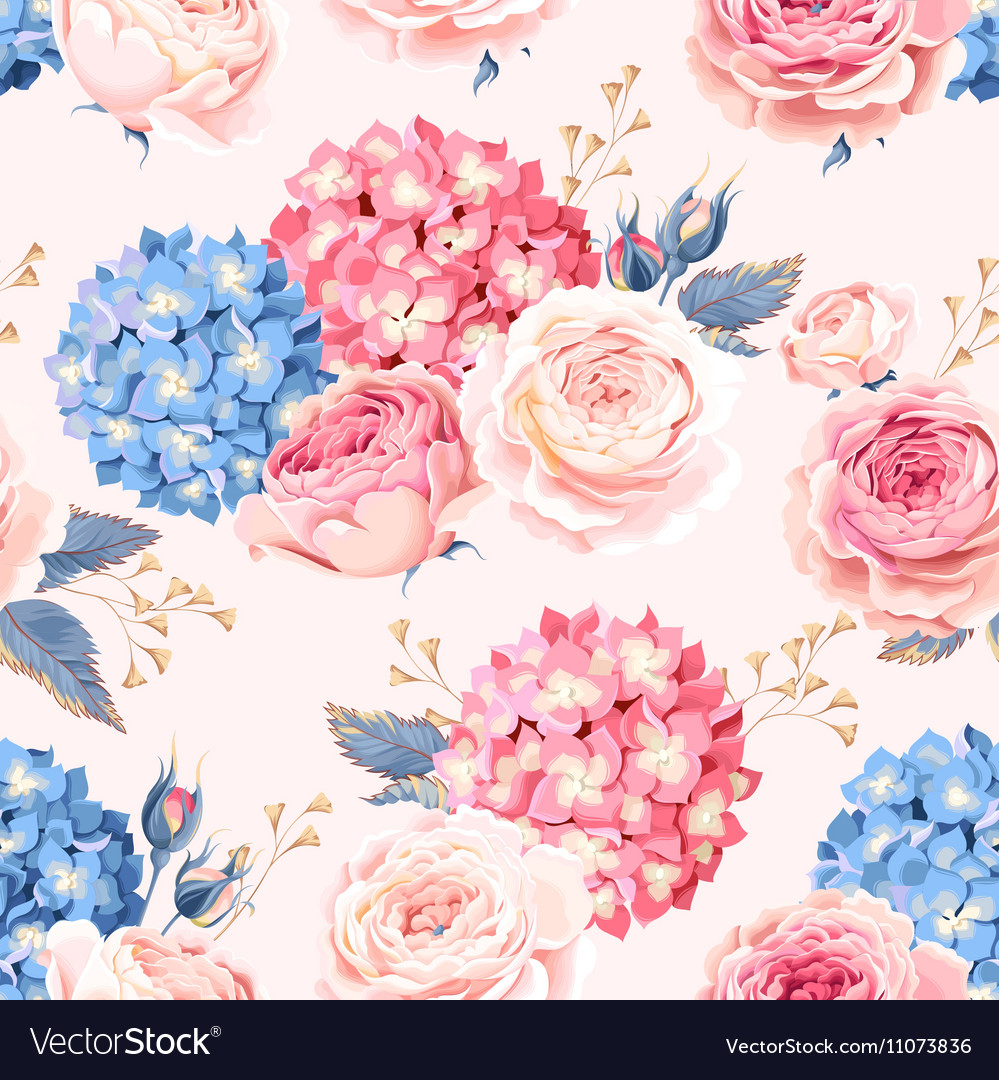 Seamless rose and hydrangea vector