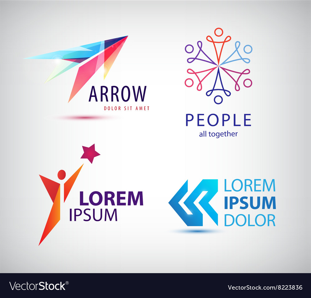 Set of abstract logo design arrow vector