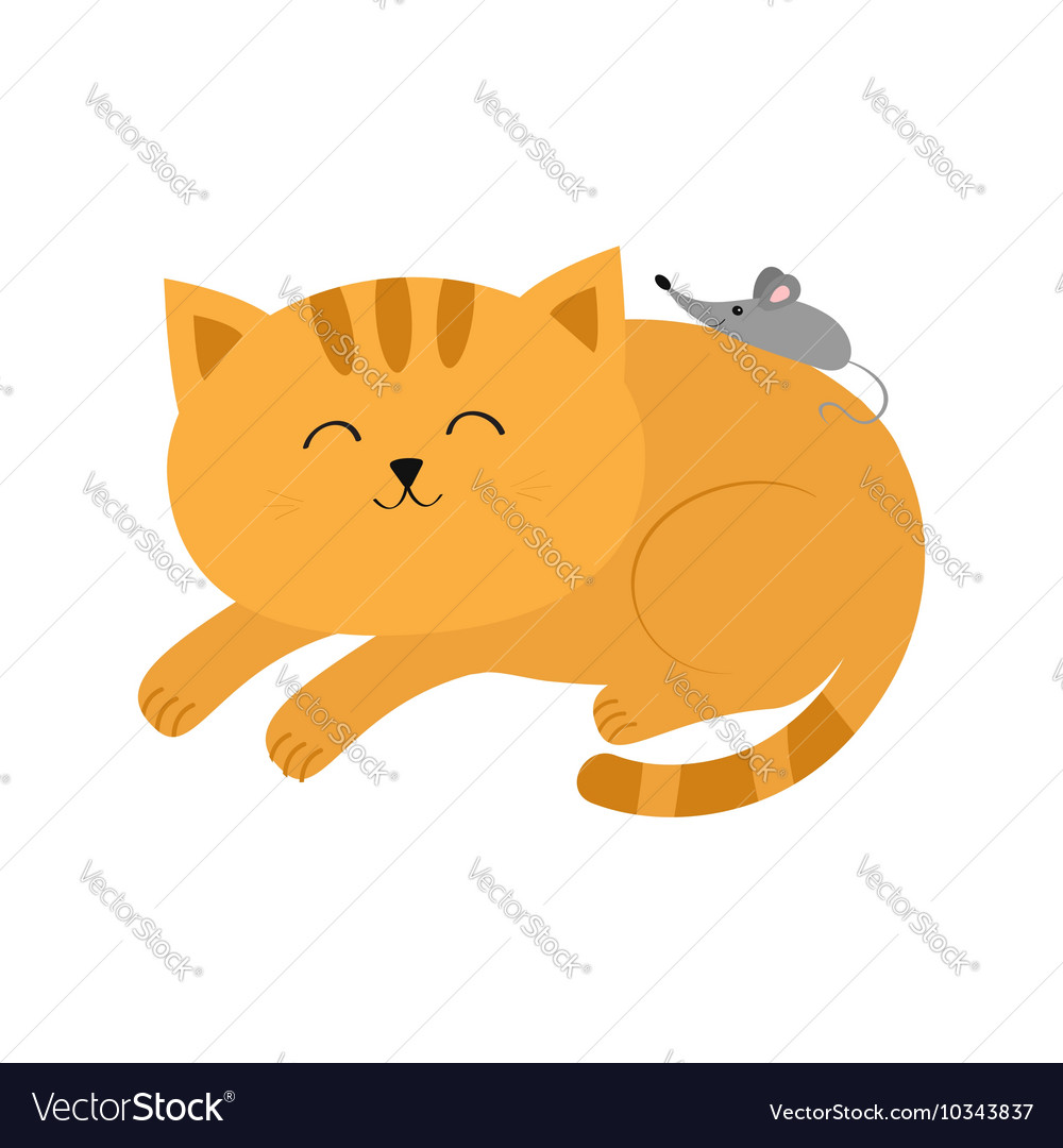 Cute lying sleeping orange cat with moustache vector
