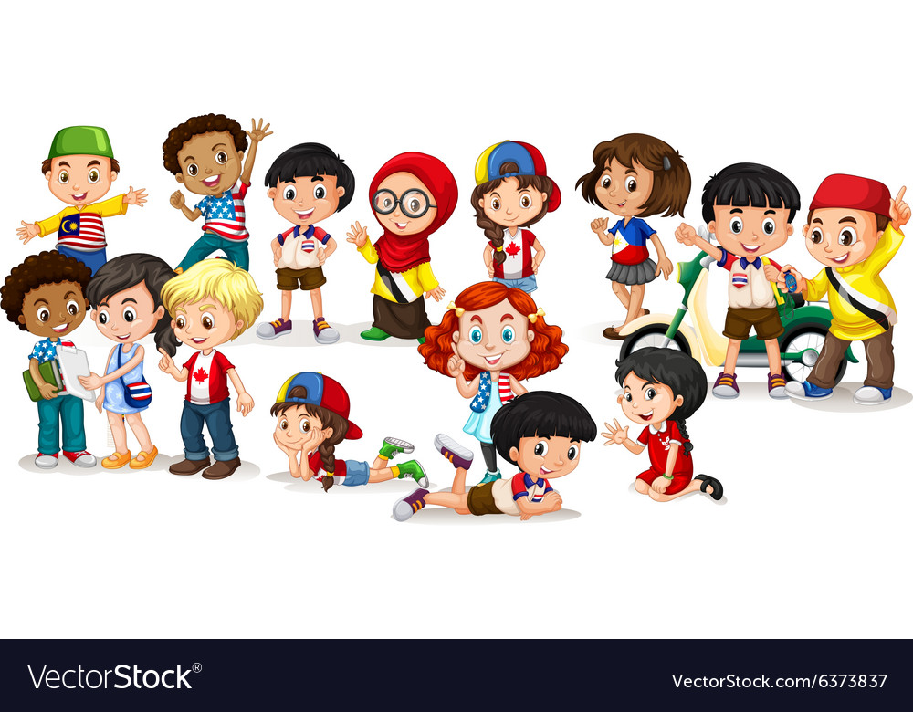 Group of international children vector