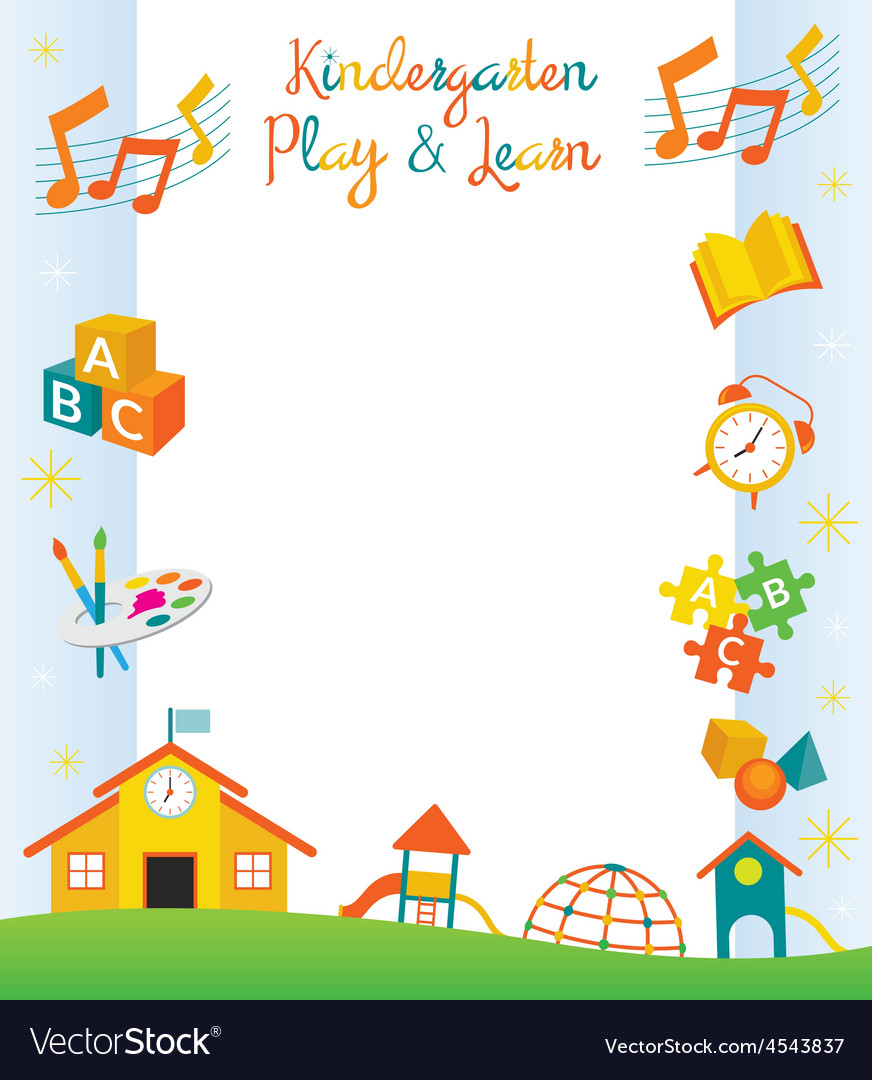 Kindergarten preschool kids objects frame vector