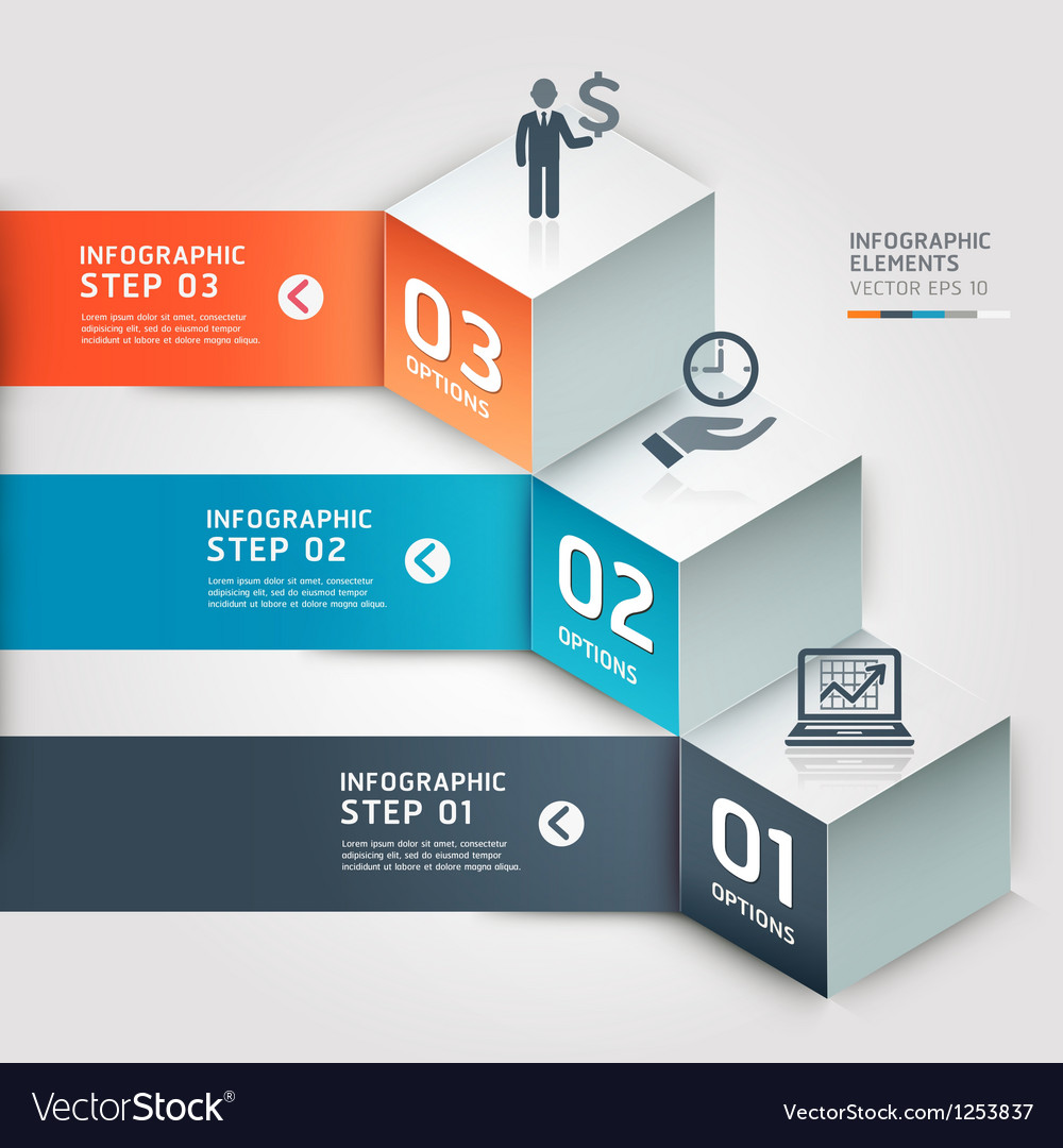 Modern infographics business step options vector
