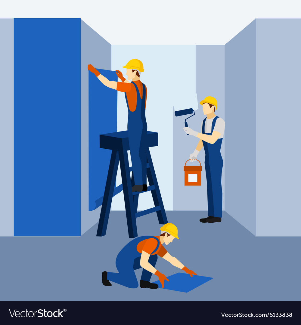Appartment building renovation work icon poster vector