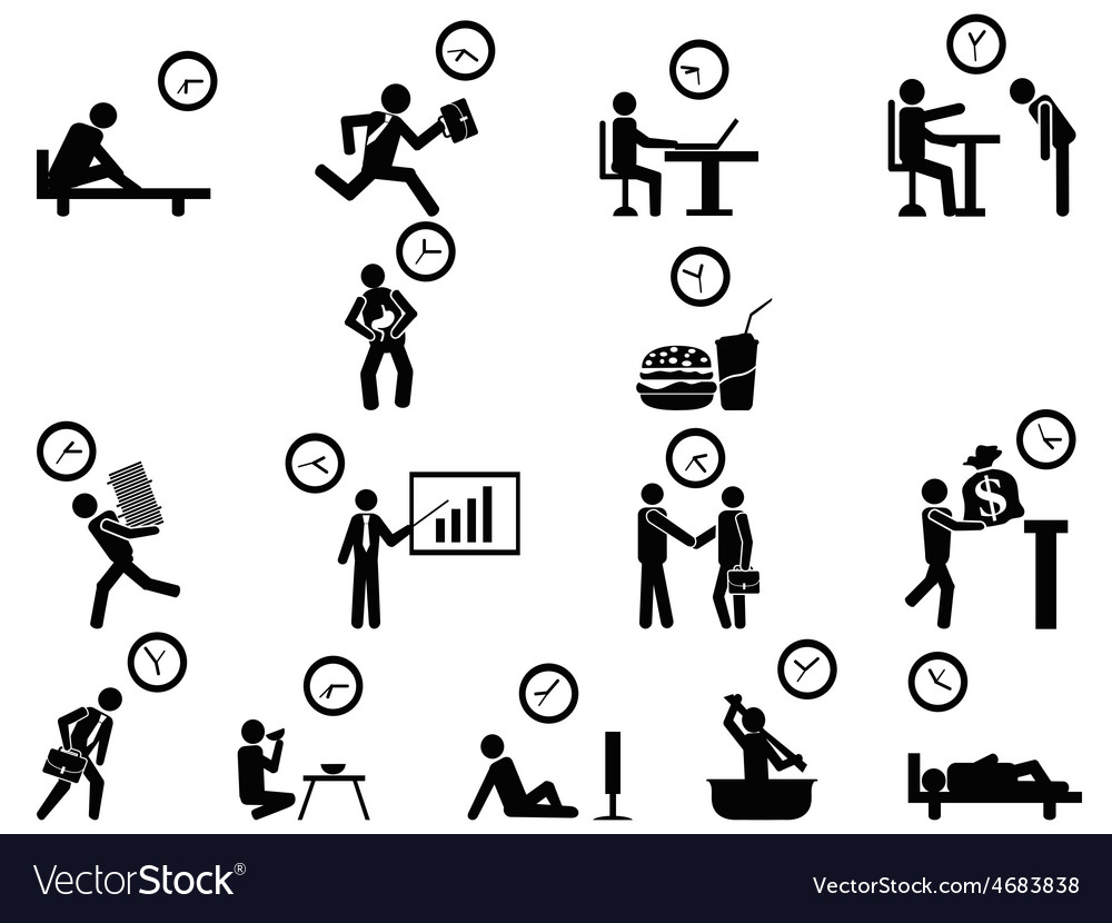 Black businessman time management concept icons vector