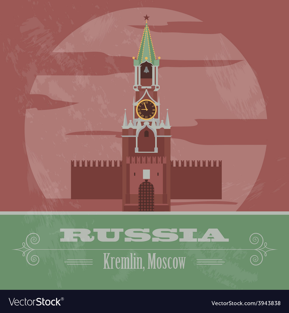 Russian federation landmarks retro styled image vector