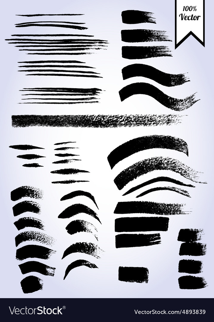 Set of grunge watercolor brush strokes vector