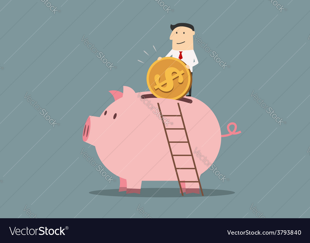Businessman banking a golden dollar coin vector