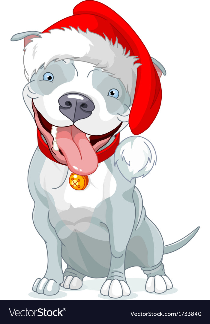 Christmas pit bull dog vector