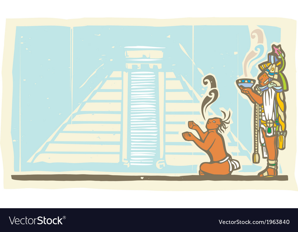 Mayan priest sacrifice and pyramid vector