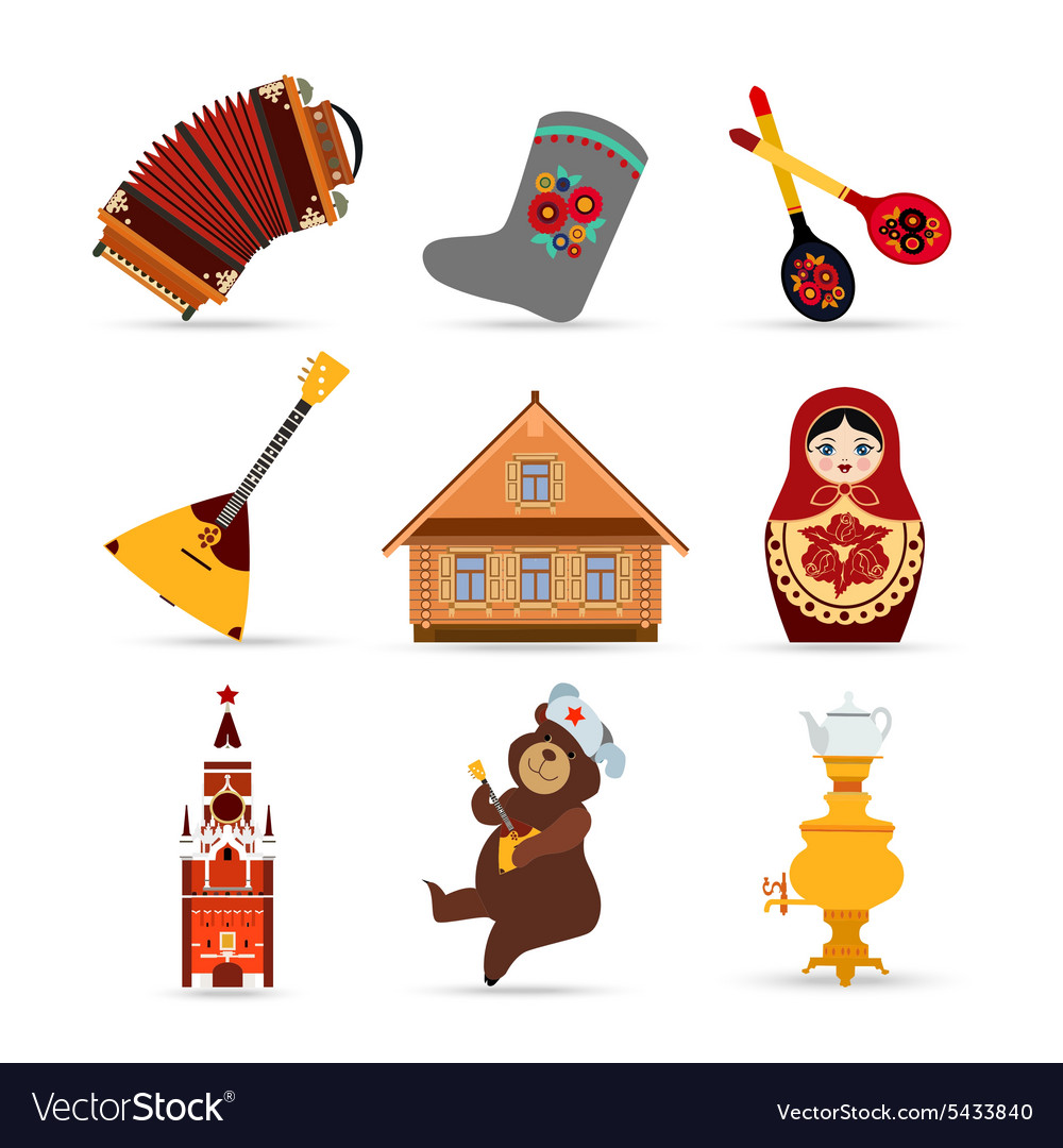 Set of russia travel colorful isolated flat icons vector