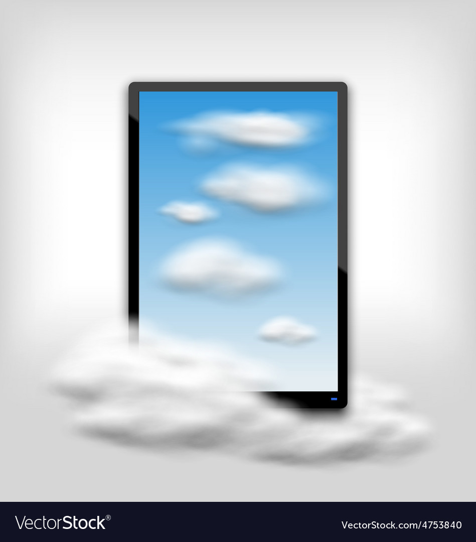 Tablet pc computer with clouds and blue sky vector