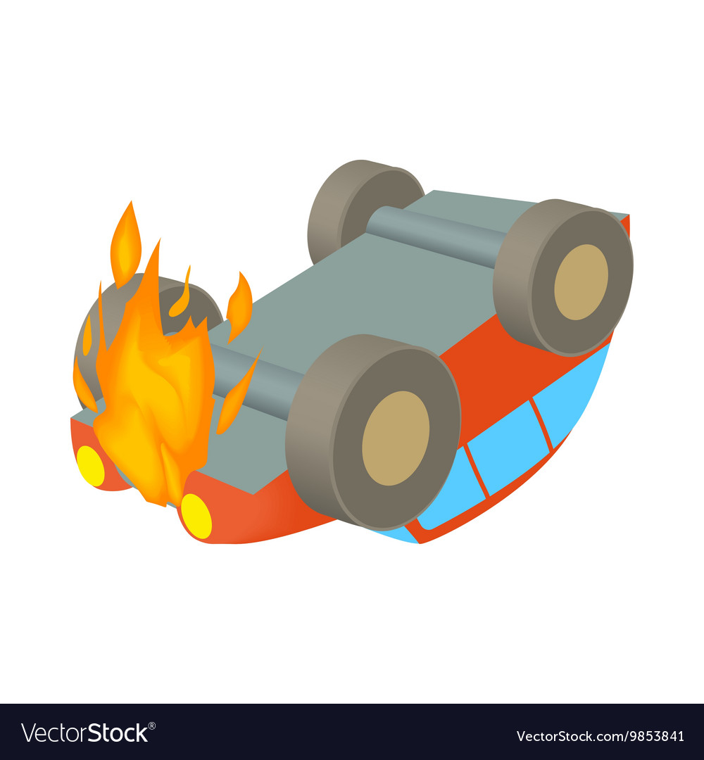 Car is on fire icon cartoon style vector